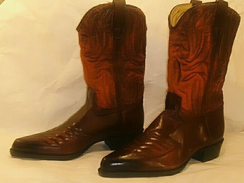 Vintage Burgundy Kids Cowboy Boots Size 1