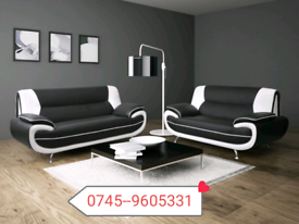 ,,Palmero 3+2 White and Black Sofa Sale