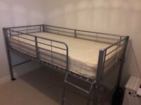 Silver Metal bunk bed with ladders, mattress included. £60