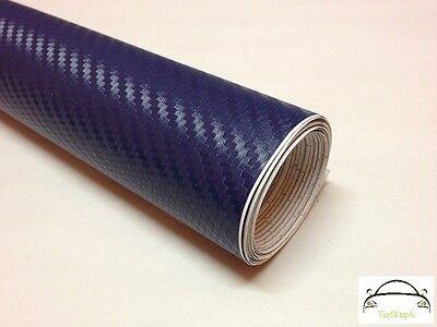 10cm x 20cm 3D Dark Blue Carbon Fibre Vinyl Wrap Adhesive Decal (Bubble Free)