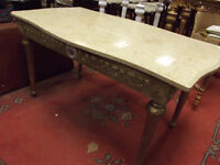 Continental gilt wood centre table having marble top and on turned supports