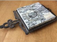 Cast iron and marble trivet