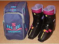 Salomon SX72 HTC Ski Boots, Size 9/10, Retro Rear-Entry!