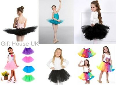 Girls Kids Tutu Fancy Dress Ballet Dance skirt  Fun Party Gauze 3 Layers Costume