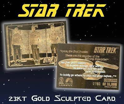 STAR TREK Kirk Spock McCoy in Transporter 23KT Gold Card Sculpted #/10,000 BOGO Gold Sculpted Star