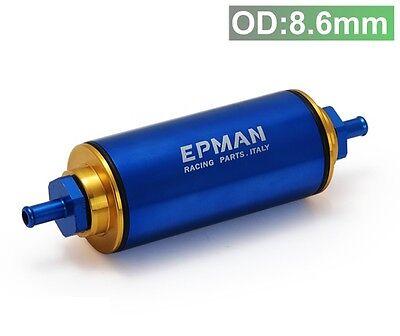 Benzinfilter Kraftstofffilter Tuning Motorsport blau gold 8,6mm Anschluss