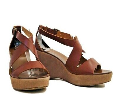 J. Crew Brown Leather Wedge Sandals Size 8 Made in Italy, 33068