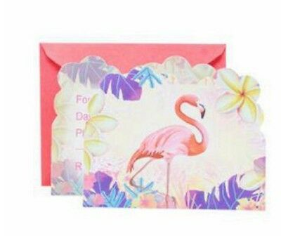Cute Flamingo Flower Girls Birthday Party Invitations W/ Envelopes 6 pcs Kids