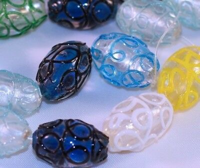 New Textured Oval Glass Beads - 1 Strand Large Lampwork Glass Multi 27x16mm Swirl Textured Oval Beads MIX*