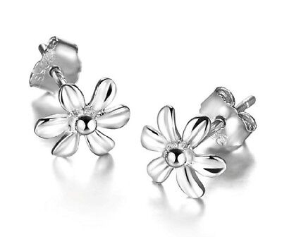 7mm 925 Sterling Silver Daisy Flower Fashion Stud Earrings Gift Box -