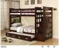 Last one at this price, 3 twin beds and stairs with storage draw