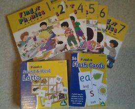 Jolly Phonics Finger Phonics x7 Hardback Books, x56 Flashcards & Lotto Game Educational Learning