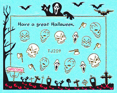 Halloween Bats Nail Art (Nail Art 3D Decal Stickers Halloween Grim Reaper Bats Grave Yard Boo Scary)