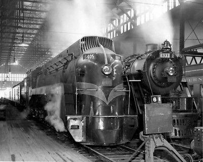 Grand Trunk Western Photo Railroad art Deco Locomotive  6405 w 6333 Non slide