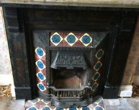 Original victorian cast fireplace with marble surround.