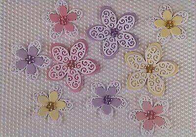9 x Kartenschmuck Kartenaufleger Blumen Scrapbooking Basteln Papier