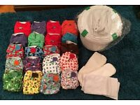 Reusable cloth nappies tots bots easy fit with boosters and nappy bucket Excellent condition