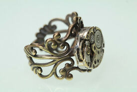 Unique handmade little watch-part filigree steampunk ring, adjustable, sizes 6-10