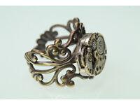 Unique handmade Little Watch-Part Filigree Steampunk Ring, adjustable sizes 6-10