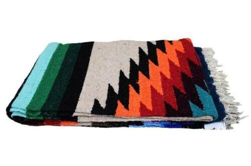 Mexican Blanket Beige Khaki Brown Vintage Style XL Diamond Serape Thick Falsa