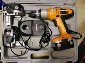 Worx cordless drill 3x batteries