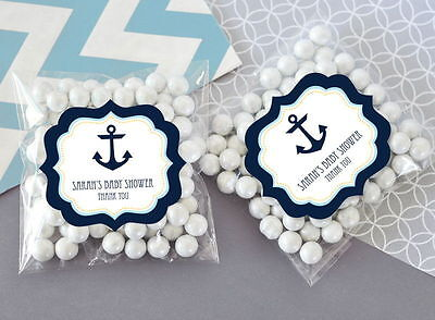 24 Nautical Ocean Theme Personalized Clear Candy Bags Baby Shower Favors - Nautical Baby Shower Favors