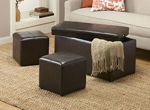 Leather-Look 3-Pc. Storage Bench & Ottoman Set, New