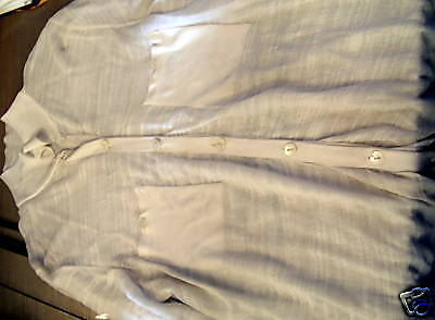 Jennifer Tyler cashmere etc white knit silk knit button down cardigan L ret$399