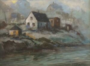 William deGarthe Oil Painting Foggy day at Peggy's Cove