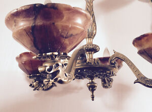 ANTIQUE SOLID BRASS CHANDELIER WITH 4 ONYX SHADES
