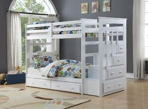 LORD SELKIRK FURNITURE - BROADWAY TWIN / TWIN BUNK BED FRAME WITH PULL OUT BED $799. *24 SLATS / BUNK