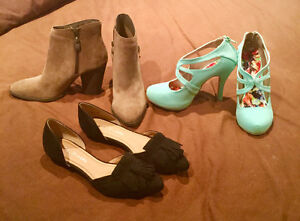 3 pairs of women's size 7.5 shoes- never worn outside