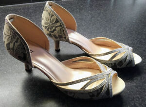 Gorgeous Champagne Peep Toe Heel Dress Shoe