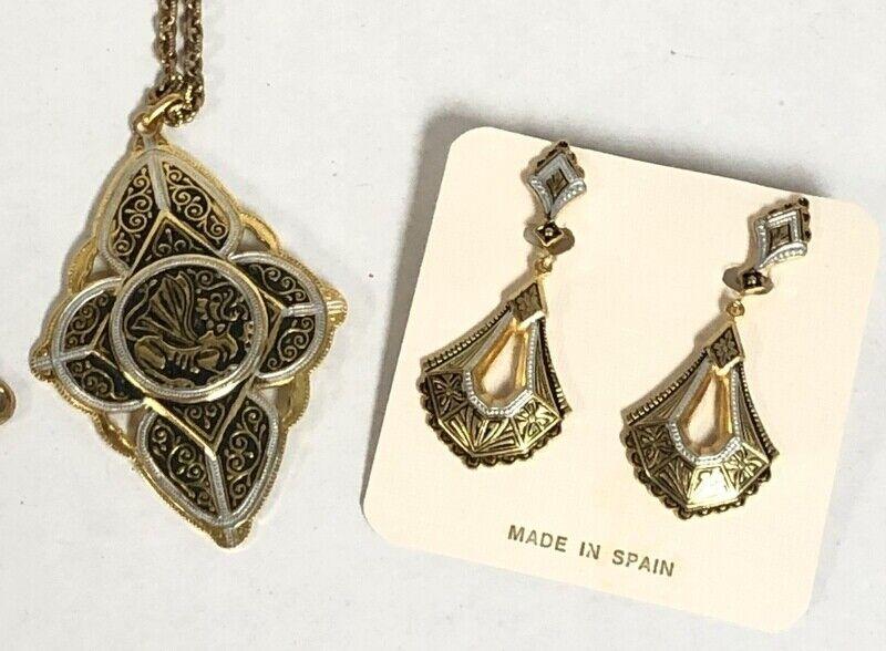 Spain Gold Dragon Damascene Earrings & Necklace