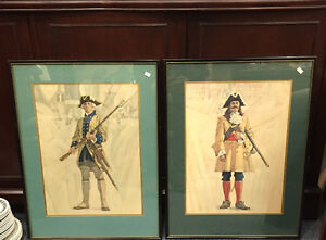 VINTAGE TOM MEMEELY SOLDIERS IN UNIFORM FRAMED PRINTS 4 avail.