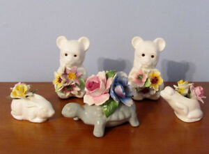 Lot with 5 Vintage Porcelain Animals with Flowers