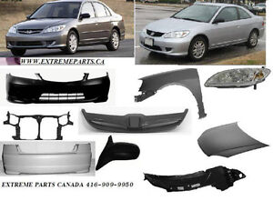 HONDA CIVIC BUMPER FENDER HEADLIGHT HOOD MIRROR RADIATOR