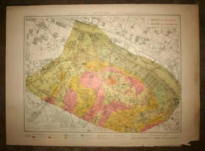 Plan antique card geographic of the 5 and 6th, V and VI district de Paris