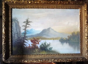 "Antique, Large Original Oil, ""Lake George"" by C. G. White Stratford Kitchener Area image 1"
