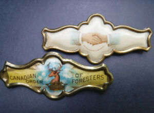 VINTAGE CELLULOID PINS WHITEHEAD HOAG SHAKING HANDS + FORESTERS