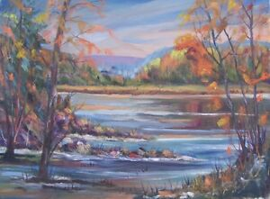 original landscape oil painting 18 x 24 signed Irmie