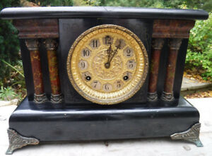 VINTAGE MANTEL CLOCK FOR PARTS REPAIR STEAMPUNK AS IS
