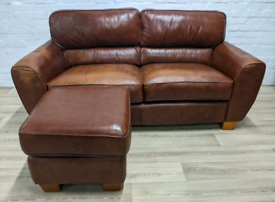 Leather Sofa With Footstool (DELIVERY AVAILABLE)