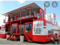 Ex DUCATI Works Moto GP Paddock complex, INC 4x iveco stralis units + crane