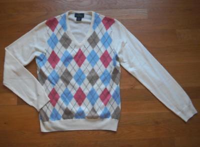 Womens V-neck Argyle Pullover (Brooks Brothers 346 Womens Sz M Argyle Sweater Fine Merino Wool Pullover V-Neck)
