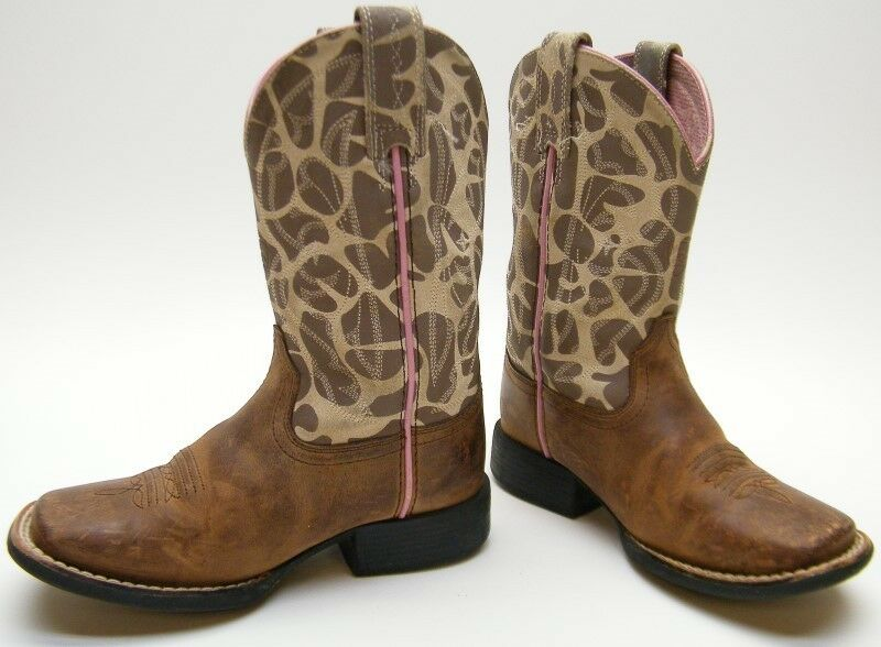 bb3fa2ccfec Details about LITTLE GIRLS ARIAT KIDS YOUTH BROWN GIRAFFE SQUARE TOE COWBOY  WESTERN BOOTS