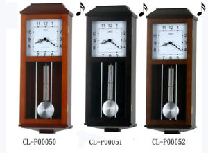 "24"" Tall Contemporary Solid Wood Pendulum 2 Chimes Wall Clock"