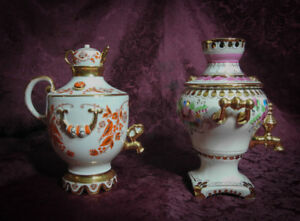 SOVIET RUSSIAN PORCELAIN SAMOVARS. LFZ AND GZEL.