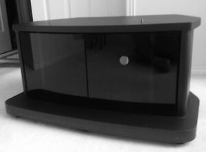 Compact TV Table in Charcoal with a Two Glass Doors