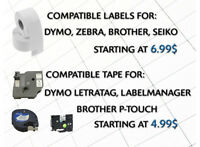 Brother P-Touch, Zebra, Seiko, Dymo Labels, Tapes, Rolls